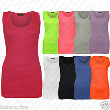 Womens Ladies Plus Size Stretchy Ribbed Vest Top Summer  Rib Strap T Shirt Top