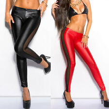 New Women Skinny Party Stretchy Mesh Long Full Splicing PU Leather Leggings