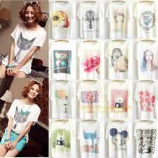 Women's Fashion Loose Cotton Batwing Sleeve Print T-Shirt Summer Tee Blouse Tops