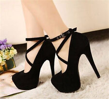 Hot Fashion Womens Strappy Buckle Stiletto Platform Pumps High Heels Club Shoes
