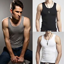 Stylish Men's Top Premium Cotton Mens A-Shirt Wife Beater Ribbed Muscle Tank Top