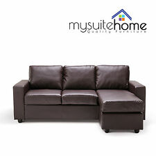 Olivia New 3 seater L Shape Lounge Black / Brown Modular PU Leather Sofa Couch
