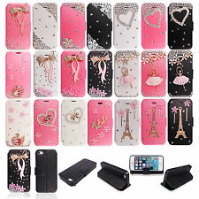 3D Luxury Diamond Bling Leather Card Wallet Case Cover For Apple Samsung Nokia