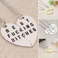Gold Silver Heart Shaped Pendant Best Bitches Best Friends Forever BFF Necklace