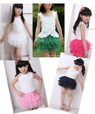 Kids Girls Princess Skirts Layer Dress Dance Tutu Ballet Fluffy Pettiskirt 2-7Y