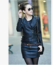 New women's small collar short paragraph Slim leather jacket lady leather jacket