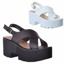 LADIES WOMENS CHUNKY SUMMER FLATFORM WEDGE ANKLE STRAP RETRO SANDALS SHOES SIZE