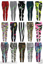 Plus Size Ladies Womens Printed Leggings Full Length Stretchy Trousers 22242628