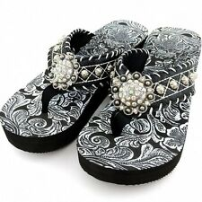 Western Leather Strap Black Flip Flop Rhinestone Concho & white Hand-woven Lace