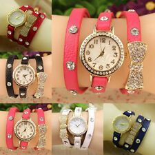 Fashion Women Ladies Girls Funny Bracelet Leather Wrist Quartz Watch Gift