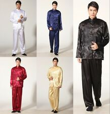 Handsome Chinese men's style silk dragon kung fu suit pajamas SZ: S M L XL XXL