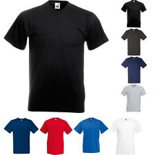 Mens Fruit of the Loom Value Weight V Neck Cotton Short Sleeve  T Shirt Top
