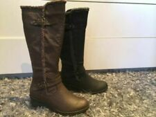 Ladies Boots No Shoes Fluff Black or Brown Wedge Knee High Boot with F Size 6-11