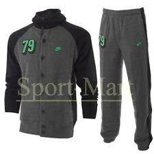 Boys Nike 79 Print Full Button Tracksuit Dark Grey Hooded Fleece Suit Kids Size