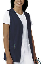 Scrubs Cherokee Womens Button Front Vest 1602 NAVY  FREE SHIPPING