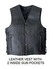 CONCEALED CARRY Leather Vest Motorcycle 2 Gun Pockets Chopper Biker SIDE LACES