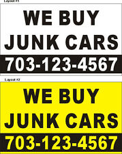 3ftX5ft Custom Printed WE BUY JUNK CARS Banner Sign with Your Phone Number