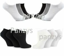 Mens Trainer Liner Ankle Socks  Womens Cotton Rich Sport Black Or White Grey