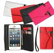 ZIPPER PU Leather Wallet Flip Hard Case Card Holder for iPhone 4  4S 4G