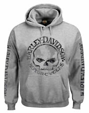 Harley-Davidson Men's Hooded Sweatshirt, Willie G Skull, Gray Hoodie 30296654