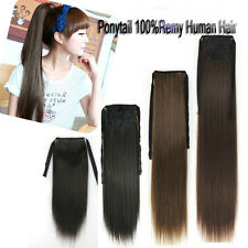 50g 16'' 18'' 20'' One piece Ribbon Ponytail Clip In Real Human Hair Extensions