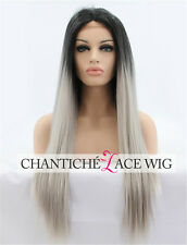 Heat Resistant Synthetic Hair Lace Front Wig Dark Roots Silver Gray Ombre Wigs