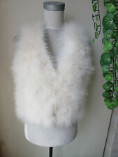 /Free shipping/real ostrich feather fur vest/jacket/S-M-L/creamy white