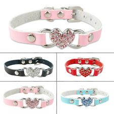 Bling Rhinestone Dog Puppy Collars Diamante Heart For Chihuahua Crystal XS S M
