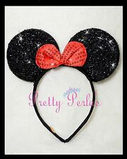 Minnie Mouse Headband Bows Sequin Shimmer-Party-Disney-Birthday-Red Bow
