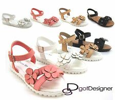 Kids Youth Girls Sandals Cute Shoes Floral Flip Flops Buckle Summer Flats Sz9-4
