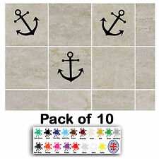 Pack of 10 Anchors Tile Transfer Stickers Decal Bathroom Kitchen Vinyl Wall Art