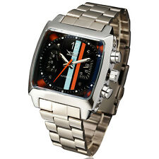 Automatic Mechanical White/Black Dial Date Day Sport Watch Square Face Stainless