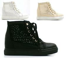 Ladies Ankle Lace Up Flat Hi-top Mesh Pumps Shoes Boots Womens Trainers Size