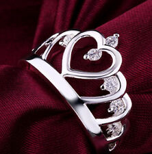 Fashion 925 Sterling Silver Crown Engagement Rings Women's Wedding Rings Jewelry