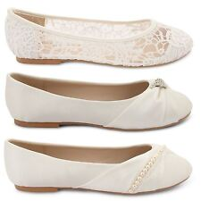 WOMENS BRIDAL WEDDING BALLET PUMPS LADIES SLIP ON PROM BRIDESMAID SHOES SIZE 3-8