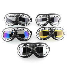 Helmet Steampunk Chrome Motorcycle Flying Goggles Vintage Pilot Biker 5 Colors