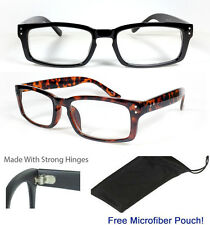 Designer Nerd Square Black Reading Glasses Optic Frame Women Men Unisex Reader
