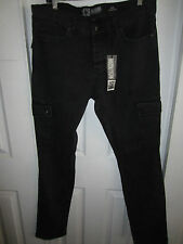 Hot Topic Social Collision Black Rude Fit Cargo Denim Pants Different Sizes