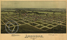 1891 Vintage Wall Map Ardmore Oklahoma Indian Territory