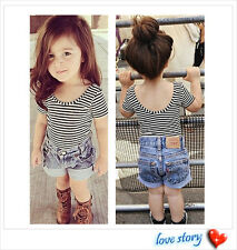 Baby Girls All-match  T-Shirt Toddler Kids stripe Backless Cool Top Clothes