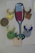 Set of 5  various shaped/colored ceramic wine/beverage/drink glass charms