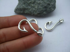 10/50pcs Antique Silver/Bronze Fish Hook Charms Alloy Pendants Jewelry Making