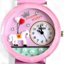 SH US Girls Watches Quartz Analog Womens Cute Dial 8 Colors Heart Flower Gift