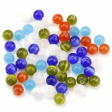 Wholesale Mixed Cat Eye Gemstone Round Loose Bead Charms DIY Findings 4/6/8/10mm