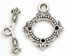 Wholesale 10/20/50/100 Pcs Flowers Tibetan Silver Crafts Findings Toggle Clasps