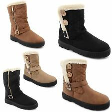 Womens Ladies Quilted Faux Fur Lined Thick Sole Mid Calf Ankle Boots Girls Shoes