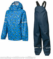 Trespass Boys Waterproof Suit Rain Jacket Dungarees Trousers Toddlers Blue Kids