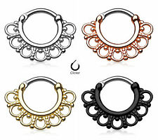 1pc Tribal Fan Septum Clicker 316L Surgical Steel 16g Nose Ring