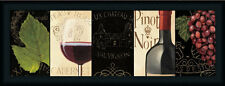 Chateau Nouveau Panel I Red Wine Bottle Framed Art Print Wall Decor Picture