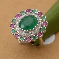 U Pick Red Ruby & Emerald White Topaz 925 Sterling Silver Ring Size 7/8/9 R311